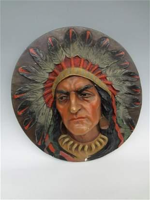 Chalkware Medallion Wall Hanger Native American Chief