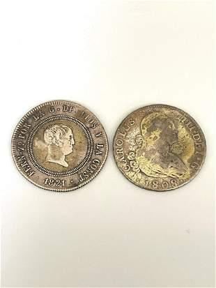 1808 Spain 4 Reales KM#431.1 & 1821 Spain 10 Reales KM#