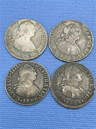 (4) Mexico Spanish Colony 2 Reales Silver Coins