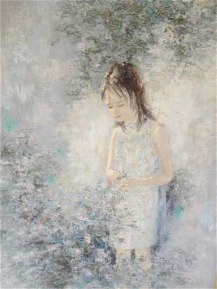 """Peter Schofield (American) Oil on Canvas """"Girl"""""""