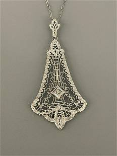 10k White Gold Necklace With Art Deco Filigree Pendant
