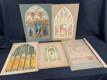 (5) Stained Glass Window Watercolor Studies E.F. Krause