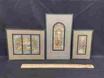(3) Stained Glass Window Watercolor Studies Brookfield