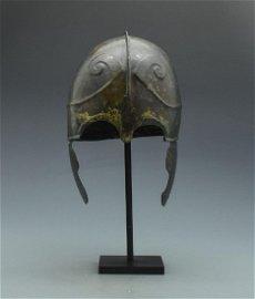 RARE GREEK CHALCIDIAN HELMET WITH HORNS OF ZEUS AMUN