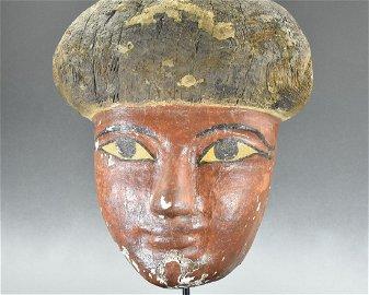 RARE EGYPTIAN WOODEN MUMMY MASK