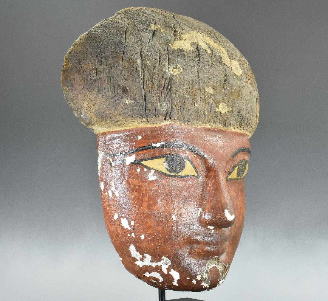 RARE EGYPTIAN WOODEN MUMMY MASK - 2