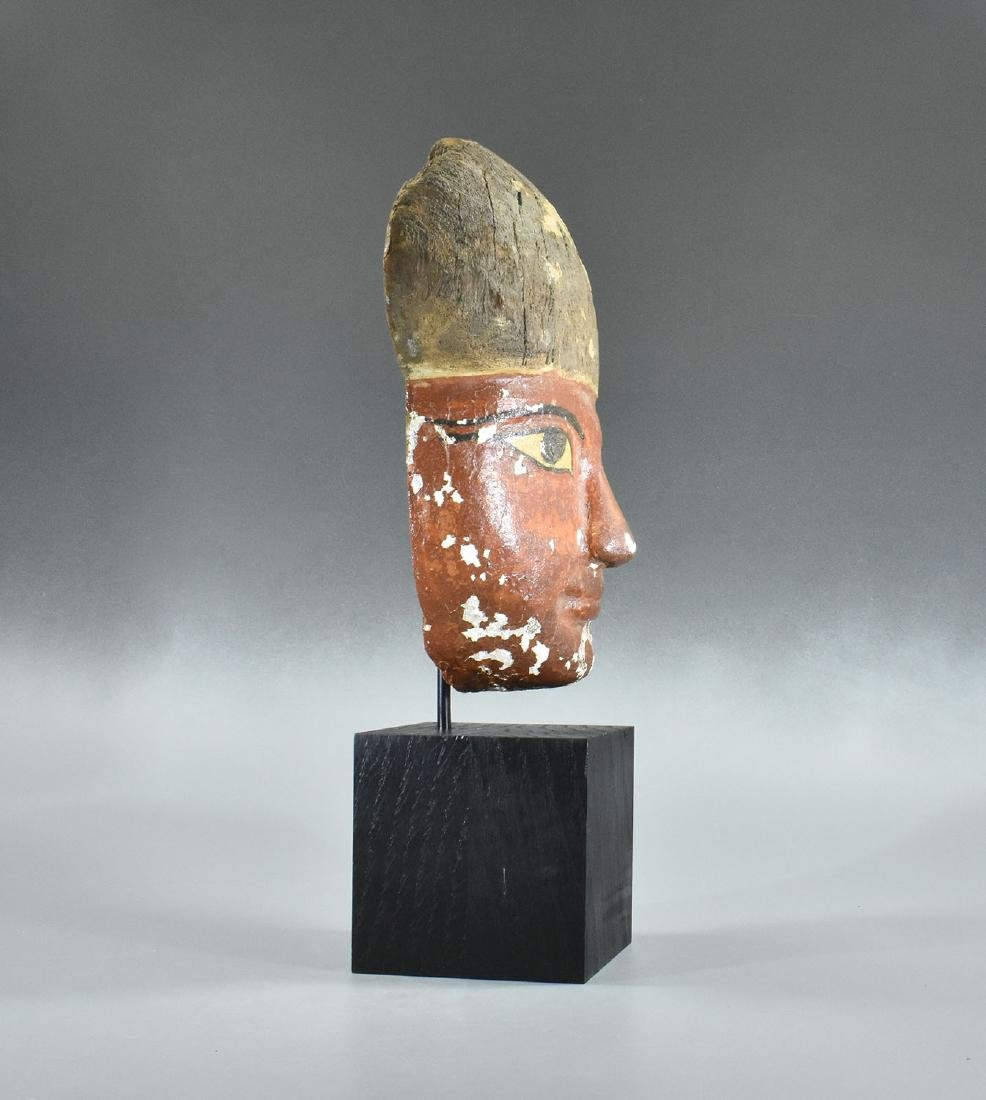 RARE EGYPTIAN WOODEN MUMMY MASK - 4