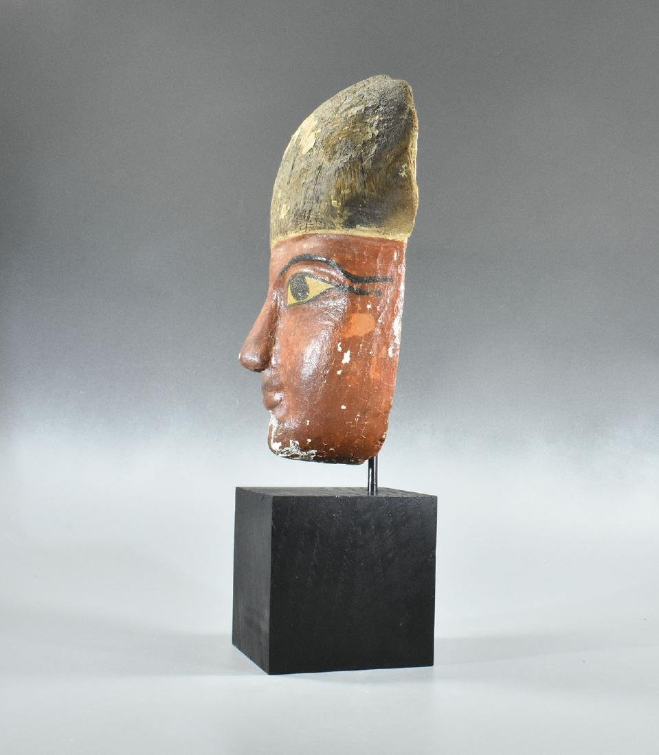RARE EGYPTIAN WOODEN MUMMY MASK - 6