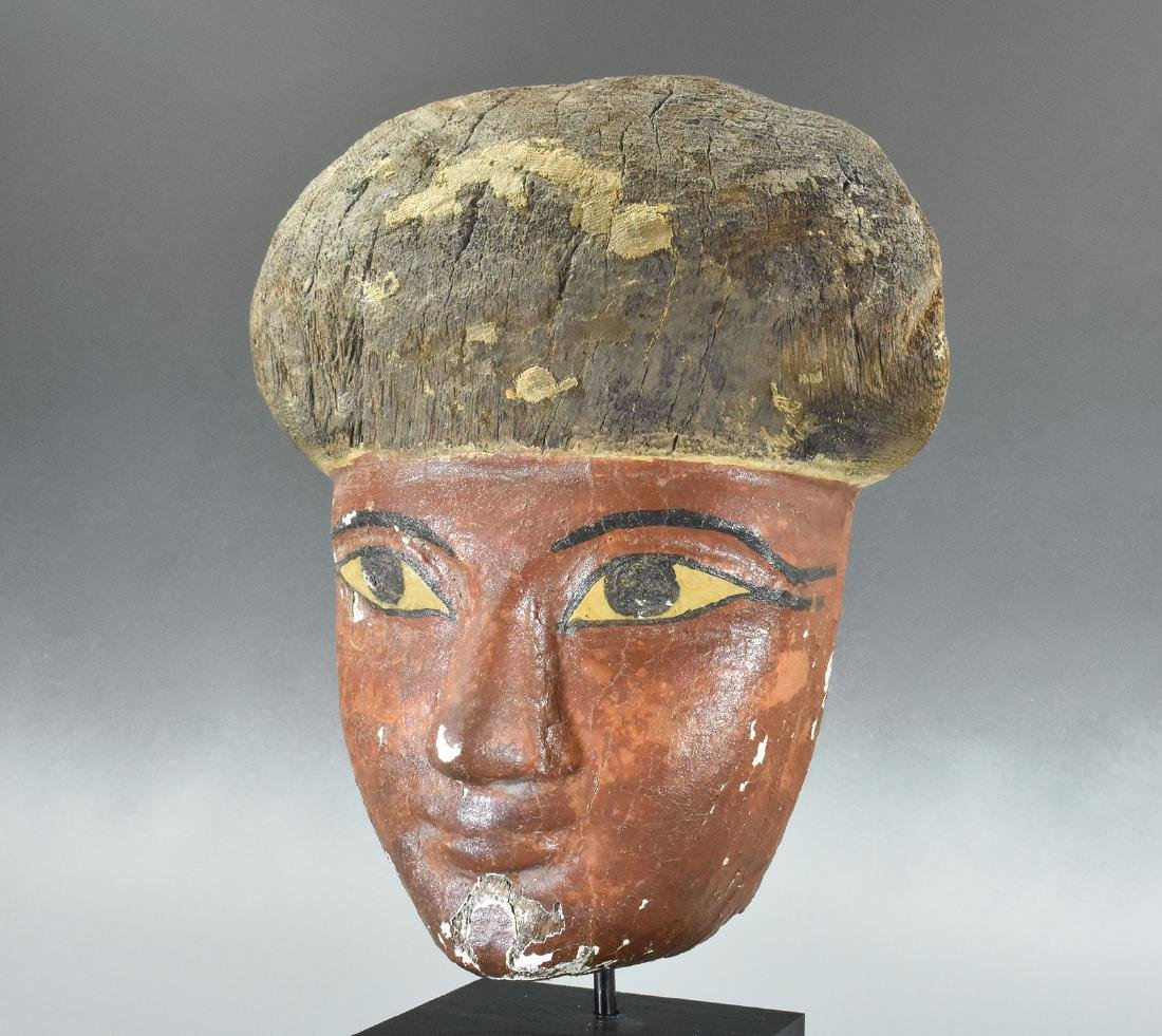 RARE EGYPTIAN WOODEN MUMMY MASK - 7