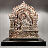 AMAZING GANDHARA SCHIST PANEL OF BUDDHA WITH WORSHIPPER
