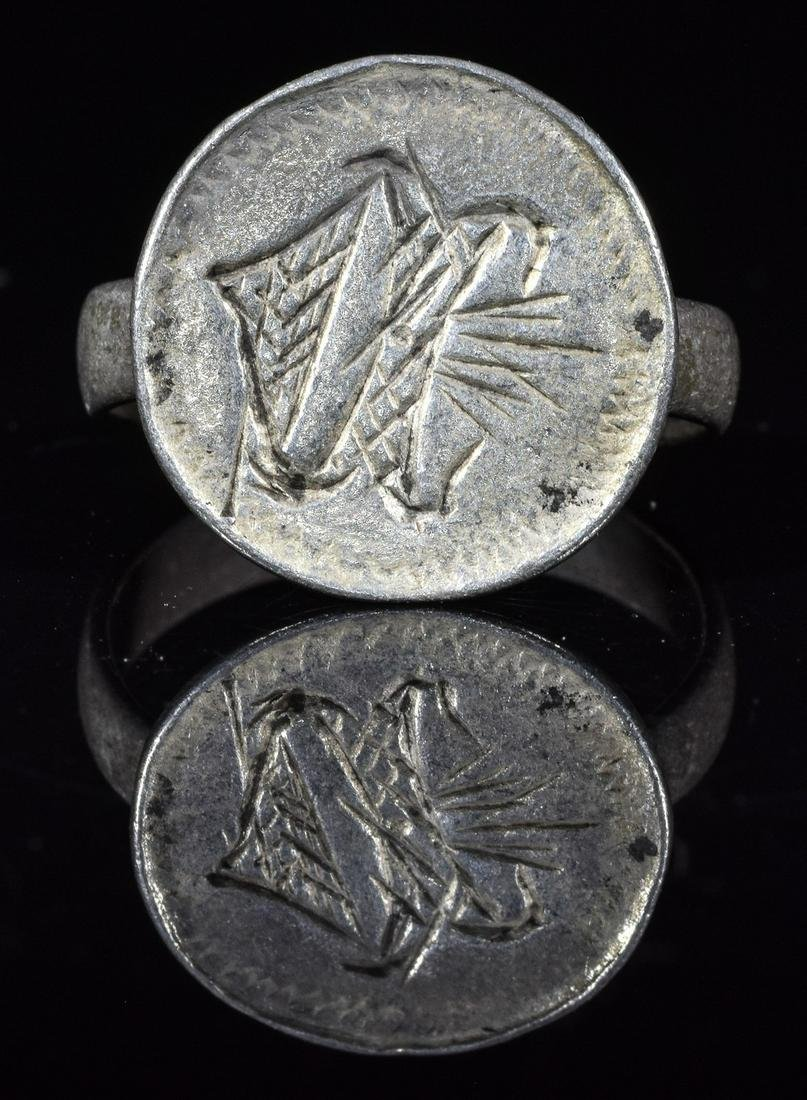 MEDIEVAL FRENCH CRUSADERS SILVER RING WITH INITIALS