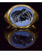 ROMAN GOLD NICOLO INTAGLIO RING WITH IMPERIAL PORTRAIT