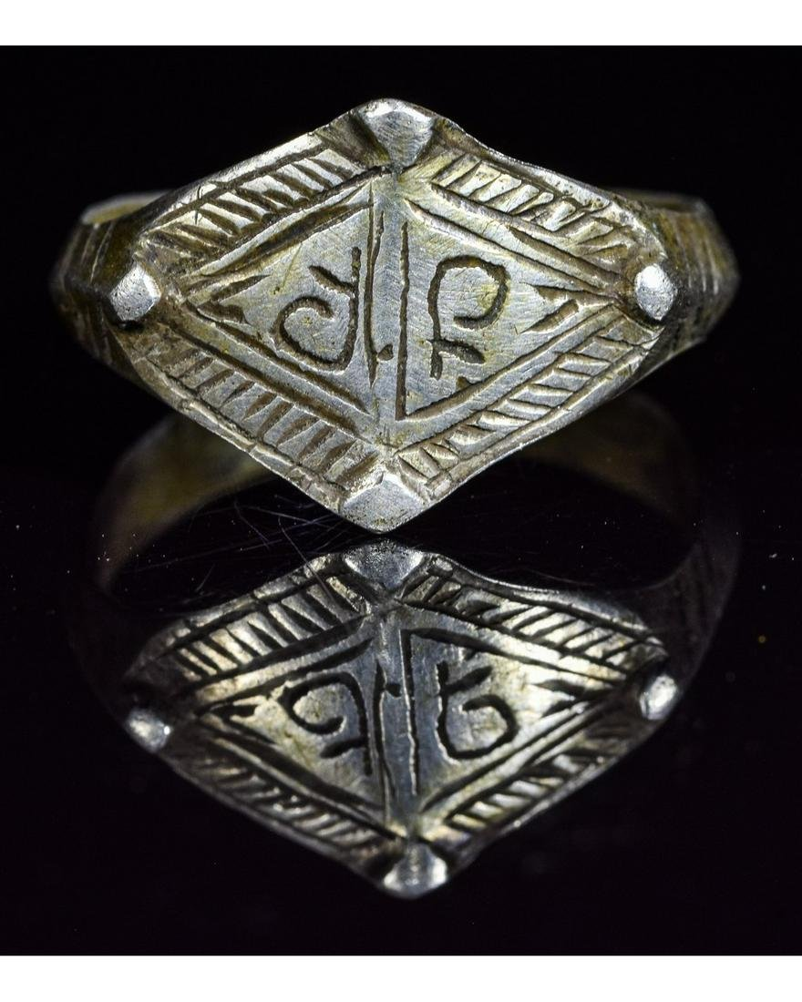 VIKING SILVER RING WITH RUNIC SCRIPT