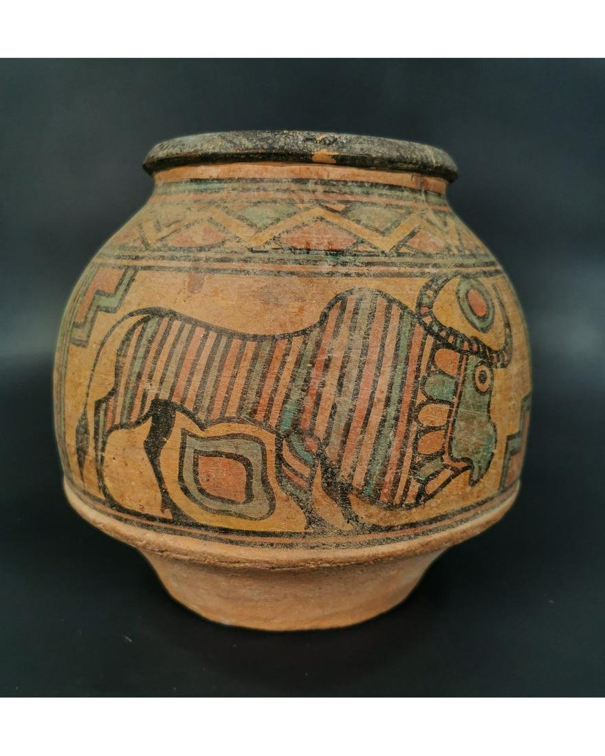 LARGE INDUS VALLEY TERRACOTTA VESSEL WITH ZEBU BULL
