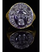 ROMAN AMETHYST CAMEO GOLD RING WITH MEDUSA