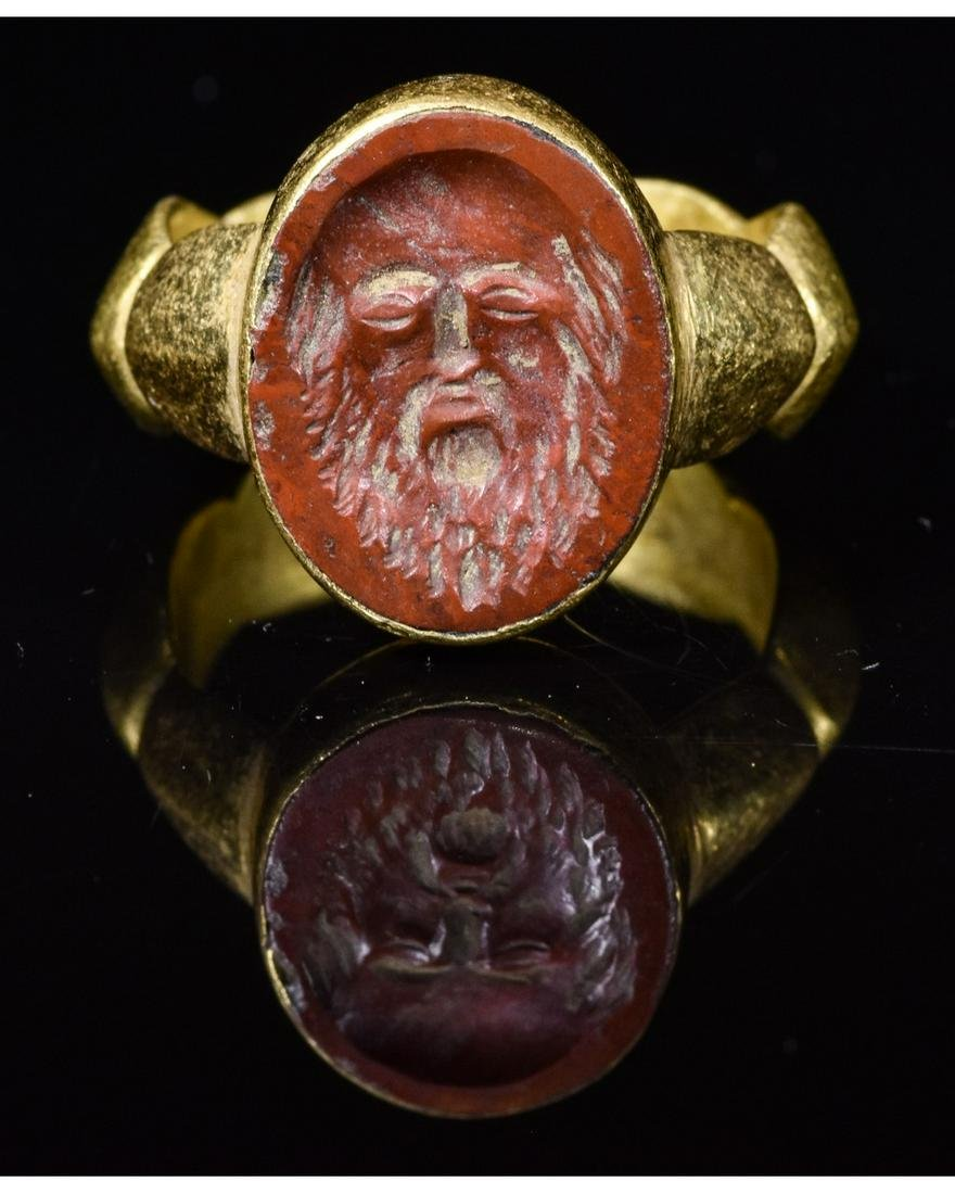 ROMAN GOLD INTAGLIO RING WITH SATYR