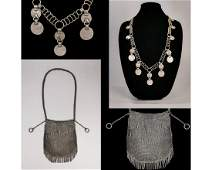 RUSSIAN IMPERIAL SILVER BAG AND NECKLACE SET