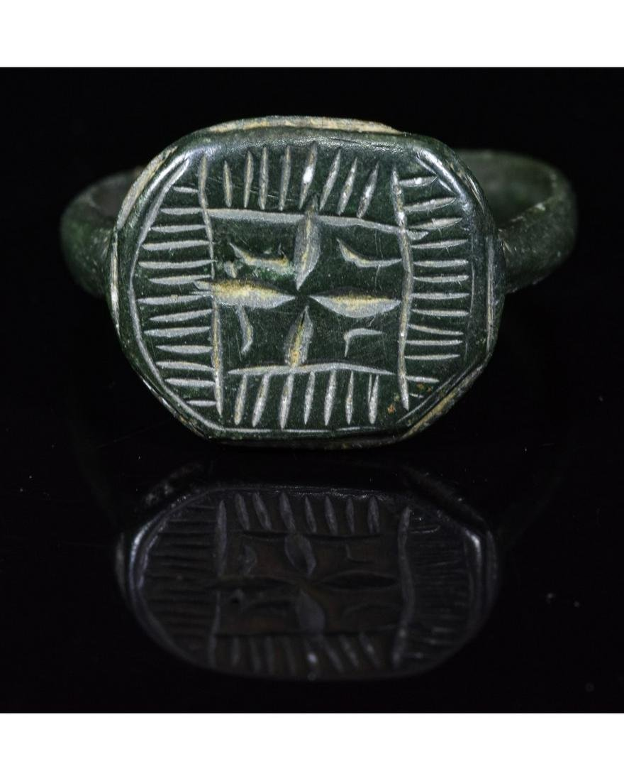 MEDIEVAL BRONZE RING WITH CROSS