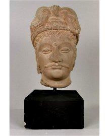 GANDHARA LIFE-SIZE SCHIST STONE HEAD OF BUDDHA