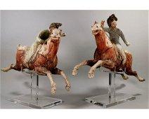 ANCIENT CHINA - PAIR OF TANG DYNASTY POLO RIDERS