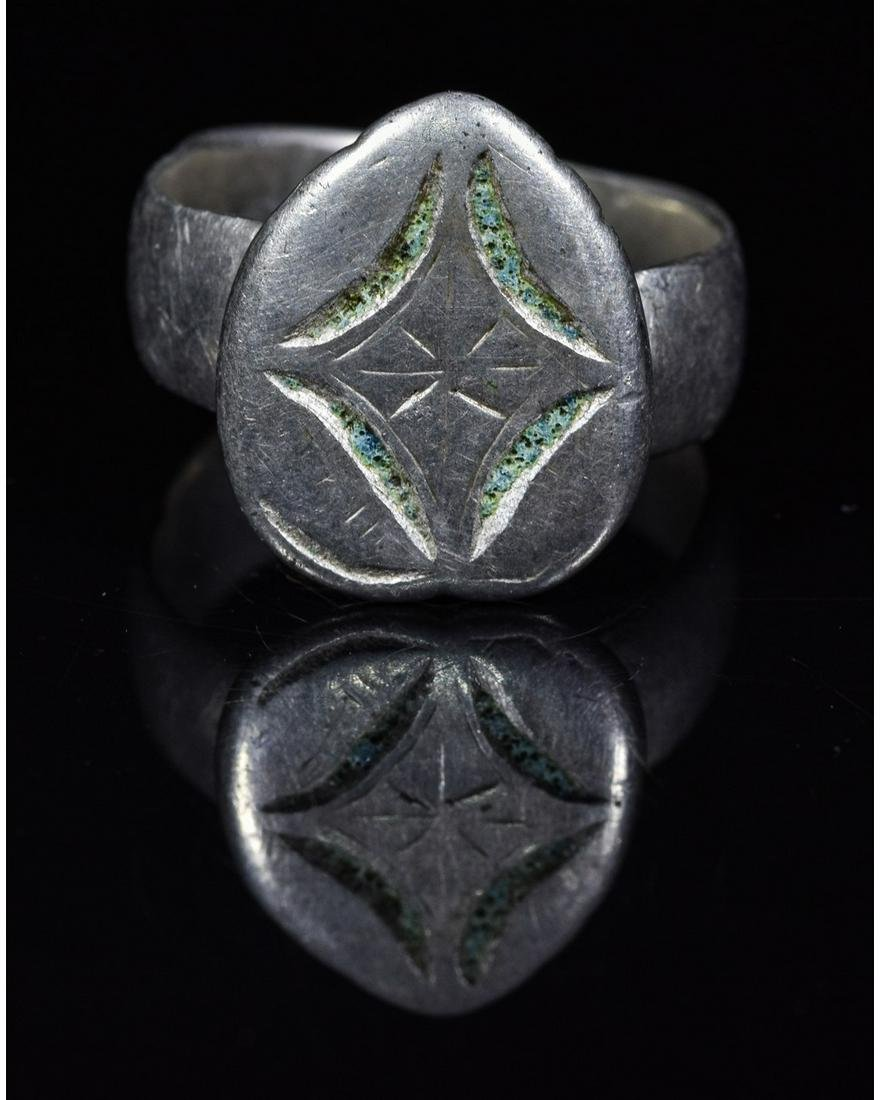 CRUSADERS PERIOD SILVER RING WITH STAR OF BETHLEHEM