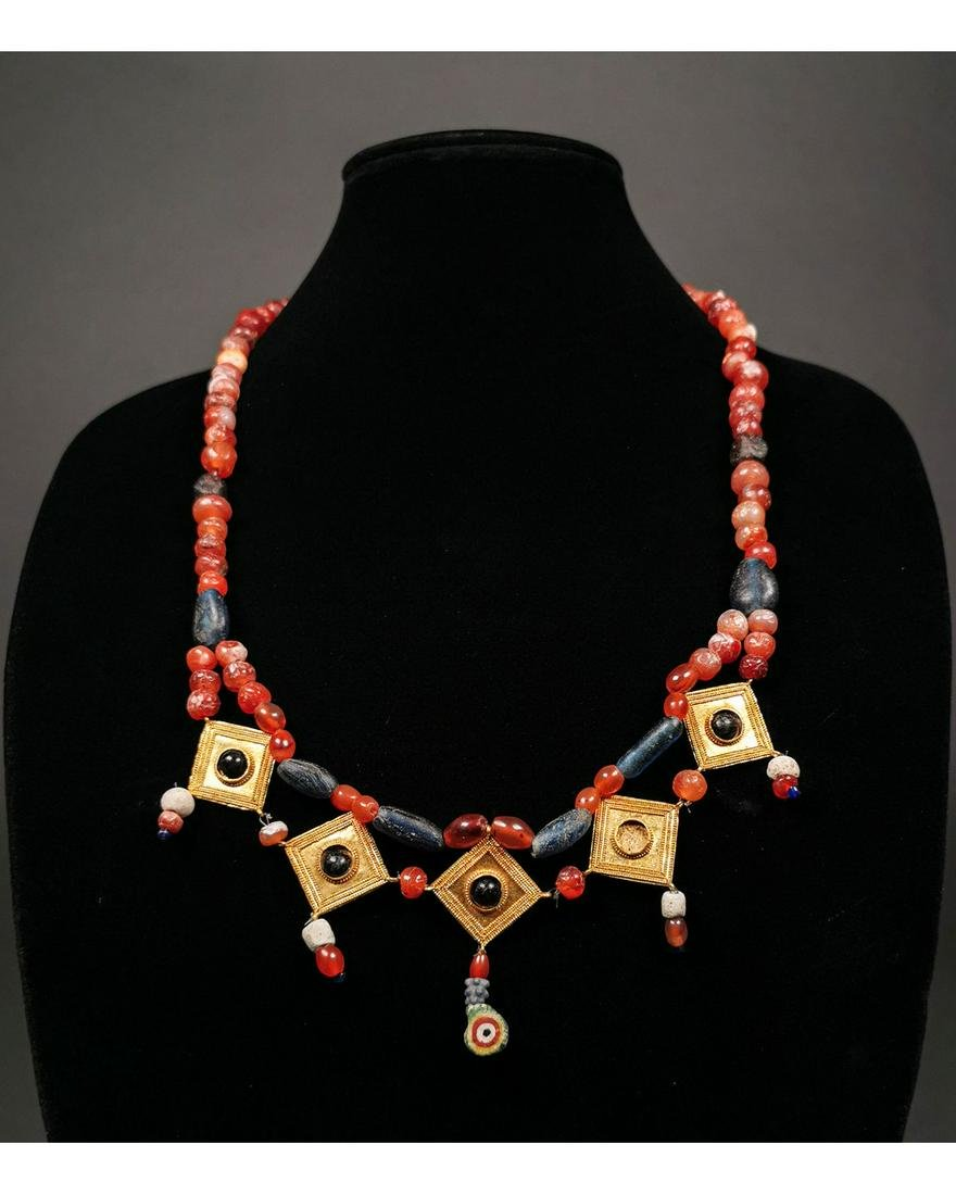 GREEK GOLD AND STONE NECKLACE