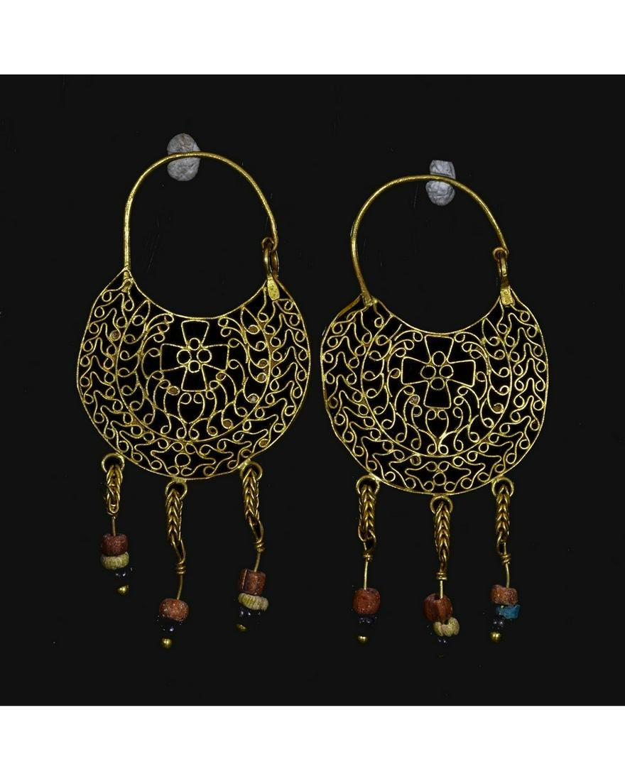 BYZANTINE GOLD EARRINGS WITH CROSSES AND BEADS