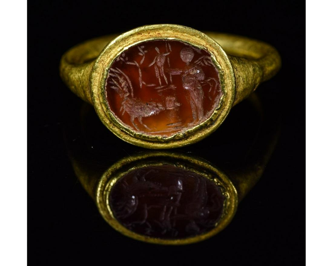 ROMAN GOLD INTAGLIO RING with APOLLO, ROOSTER AND