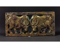CHINESE ORDOS GILDED STAG PLAQUE