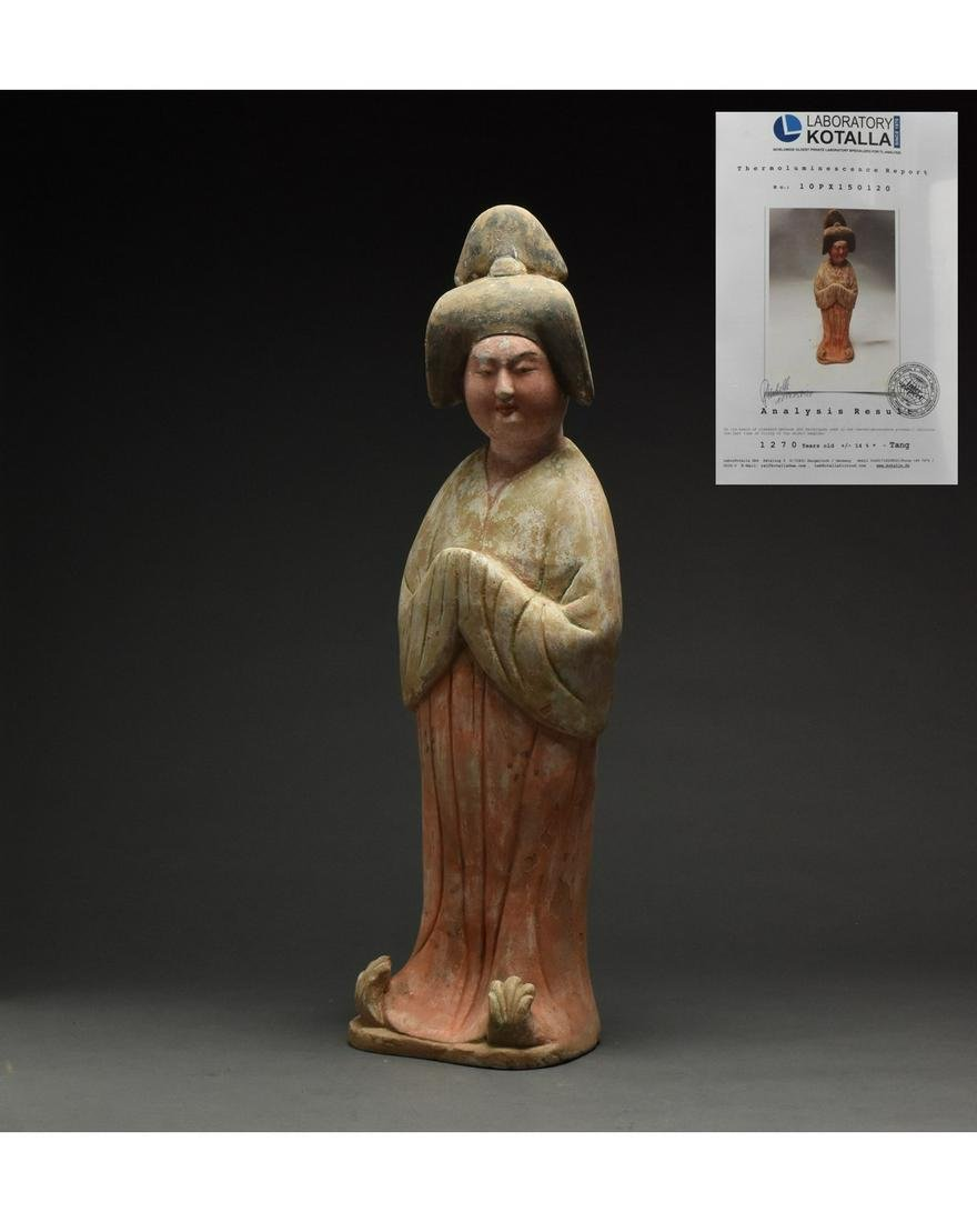 CHINESE TANG DYANSTY TERRACOTTA FAT LADY FIGURE - TL
