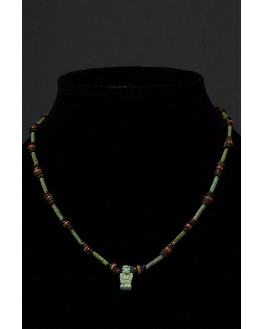 EGYPTIAN FAIENCE BEADED NECKLACE WITH AMULET