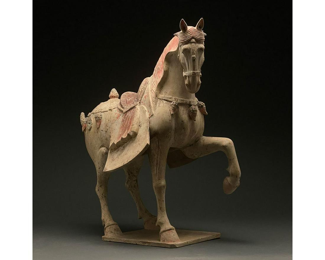 CHINA, HUGE TANG DYNASTY POTTERY PRANCING HORSE - TL