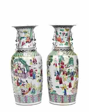 PAIR OF LARGE CHINESE PORCELAIN VASES