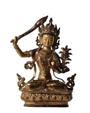 CHINESE BRONZE GILDED BUDDHA