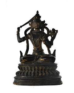 CHINESE BRONZE SEATED GUANYIN WITH SWORD