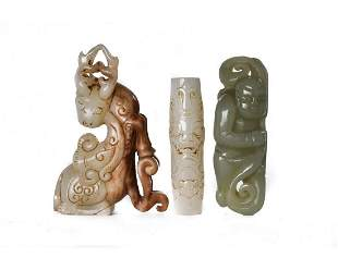 THREE CHINESE JADE CARVED FIGURES
