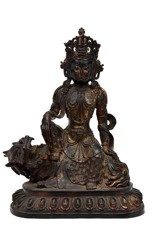 A SIZABLE SINO TIBETAN, LAQUERED AND GILT STATUE OF GUA