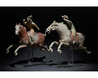 PAIR OF CHINESE TANG DYNASTY TERRACOTTA POLO PLAYERS -