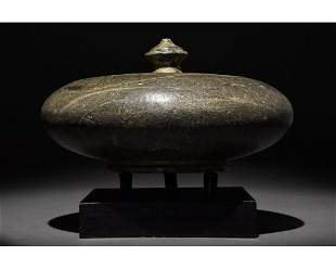 ANCIENT BACTRIAN BLACK STONE JAR WITH LID