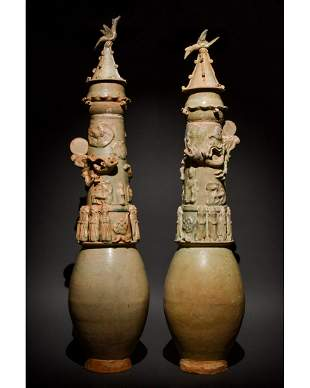 PAIR OF CHINESE SONG DYNASTY DECORATED GLAZED VASES