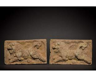 PAIR OF CHINESE SONG DYNASTY TERRACOTTA BRICKS WITH