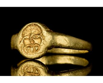 ROMAN GOLD SEAL RING WITH MEDUSA - XRF TESTED