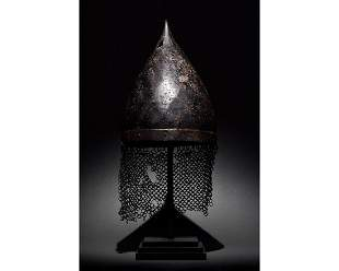RARE MEDIEVAL HELMET WITH ORIGINAL CHAINMAIL