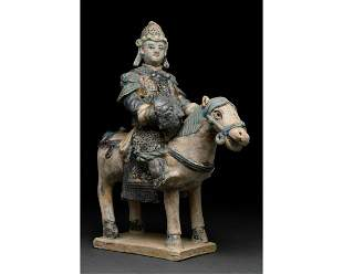 CHINESE MING DYNASTY HORSE AND RIDER FIGURE