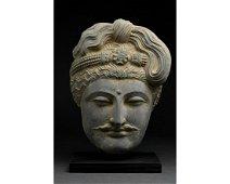 SUPERB GANDHARA SCHIST STONE HEAD OF BUDDHA