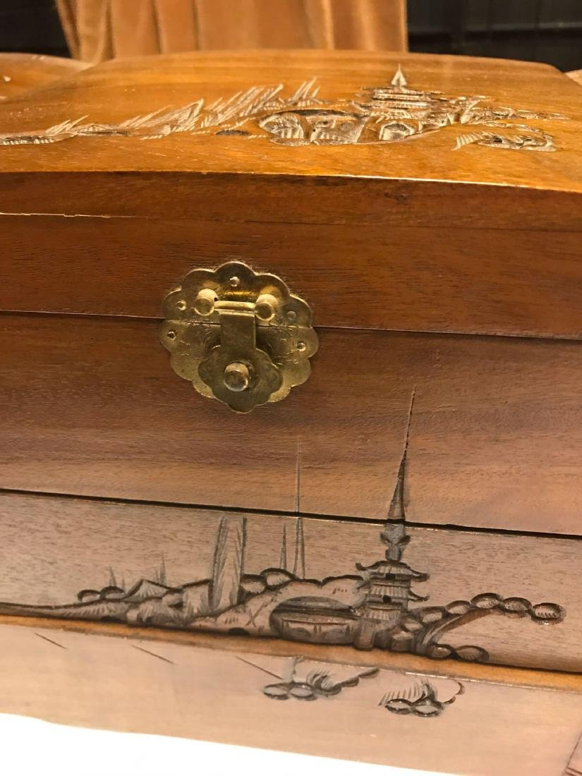 Wooden Carved Jewelry Box - 3