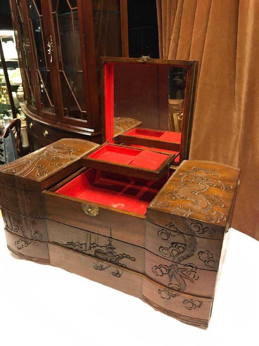 Wooden Carved Jewelry Box - 6