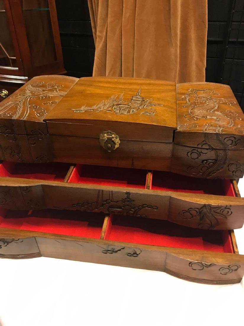Wooden Carved Jewelry Box - 7