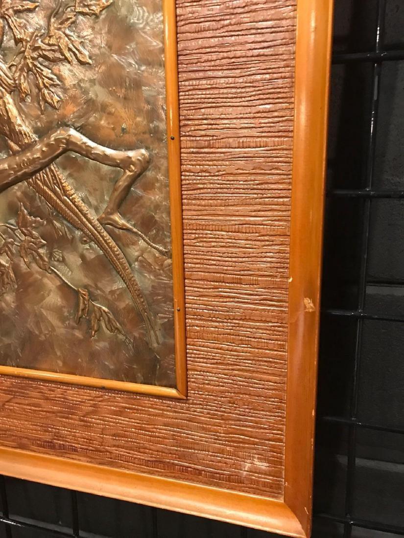 Prison Art, Hammered Metal of Bird in Tree - 2