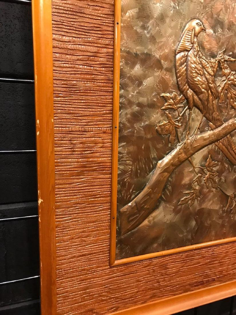 Prison Art, Hammered Metal of Bird in Tree - 3
